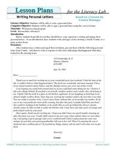 Writing Personal Letters Lesson Plan