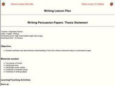 Writing Persuasion Papers: Thesis Statement Lesson Plan