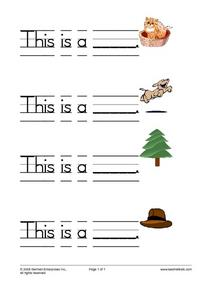 Writing Practice: 3 and 4 Letter Words Worksheet