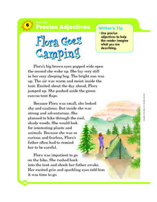 Writing Precise Adjectives: Flora Goes Camping Worksheet