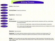 Writing Process - Expand your sentences Lesson Plan