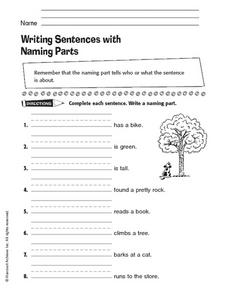 Writing Sentences with Naming Parts Worksheet