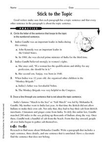 Writing: Stick to the Topic Worksheet