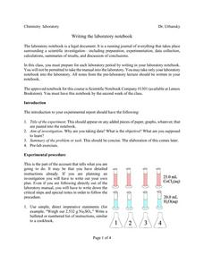 Writing The Laboratory Notebook Lesson Plan