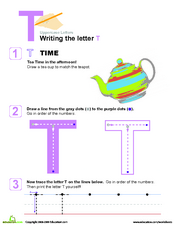 Writing the Letter T Worksheet