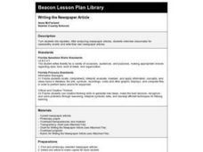 Writing the Newspaper Article Lesson Plan