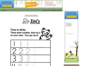 Writing the Numbers 1-5 Worksheet