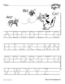 Writing Uppercase Letters Worksheet