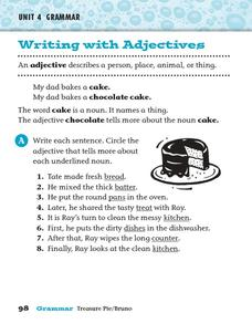 Writing with Adjectives 2 Worksheet