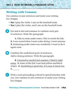 Writing with Commas 2 Worksheet