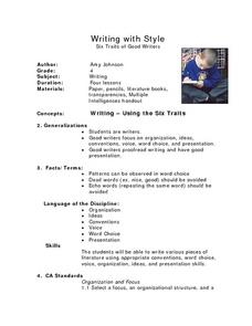 Writing with Style: Six Traits of Good Writers Lesson Plan