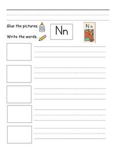 Writing with the letters Nn Worksheet