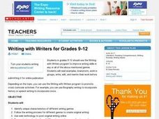 Writing with Writers for Grades 9-12 Lesson Plan