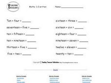 Written Equations Worksheet