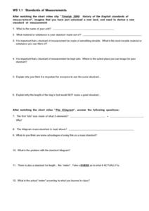 WS 1.8 Standards of Measurements Worksheet