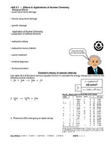 WS 6.7 Effects & Applications of Nuclear Chemistry Worksheet
