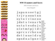 WW II Names and Faces Worksheet
