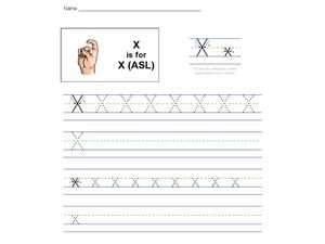 X is for X (ASL) Worksheet