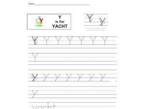 Y  Is for Yacht Worksheet