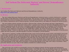 Yad Vashem-The Holocaust Martyrs¿¿ and Heroes¿¿ Remembrance Authority Lesson Plan