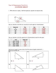 Year 10 Trigonometry Ch. 14 Answer Sheet Worksheet