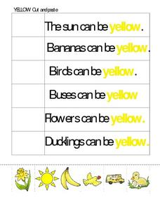 Yellow Cut And Paste Worksheet