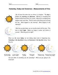 Yesterday, Today and Tomorrow--Measurements of Time Worksheet