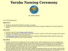 Yoruba Naming Ceremony Lesson Plan