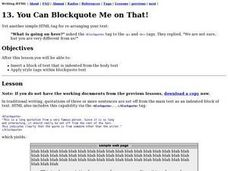 You Can Blockquote Me on That! Lesson Plan