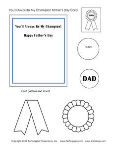 You'll Always Be My Champion Father's Day Card Worksheet