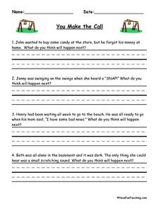 You Make the Call: Practicing Predictions Worksheet