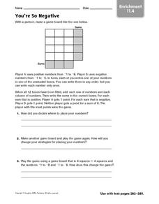 You're So Negative - Enrichment 11.4 Worksheet