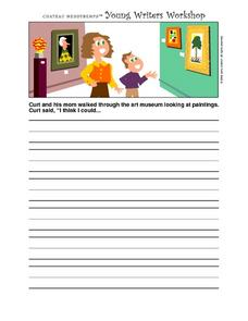 Young Writer's Workshop- Writing Prompt Worksheet- Art Museum Worksheet