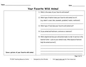 Your Favorite Wild Animal Worksheet