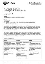 Your World, My World: Sasha Helps Out Lesson Plan