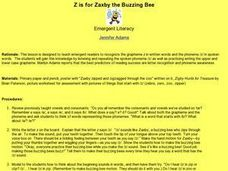 Z is for Zaxby the Buzzing Bee Lesson Plan