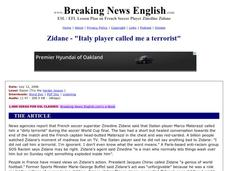 "Zidane - ""Italy Player Called Me a Terrorist"" Worksheet"