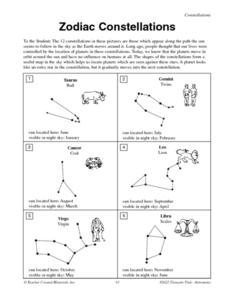 Printables Constellation Worksheets constellations worksheet davezan zodiac 4th 5th grade lesson planet