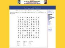 Zoo Animal Word Search Worksheet Worksheet