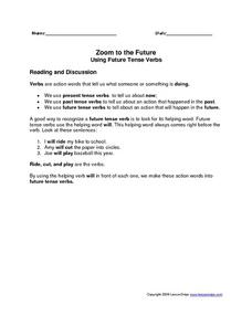 Zoom to the Future: Using Future Tense Verbs Worksheet