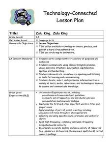 Zulu King, Zulu King Lesson Plan