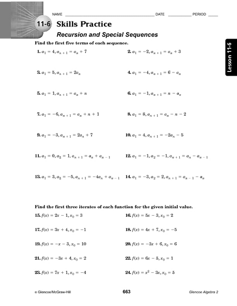 11-6 Skills Practice: Recursion and Special Sequences 9th - 11th ...
