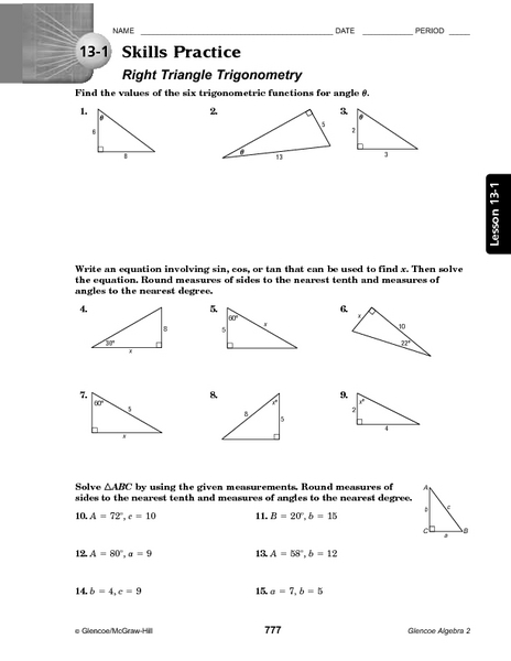 Worksheet Trigonometry Worksheet 13 1 skills practice right triangle trigonometry 10th 12th grade worksheet lesson planet
