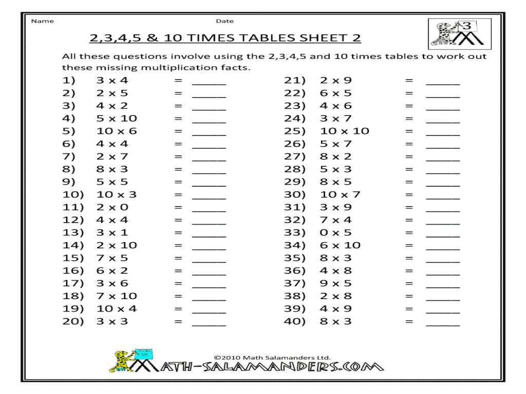 Times table practice for grade 4 times tables for kids 4 for 10 times table test