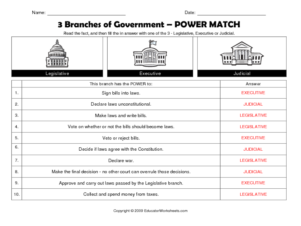 Worksheets Three Branches Of Government Worksheet 3 branches of government power match 5th 8th grade worksheet lesson planet