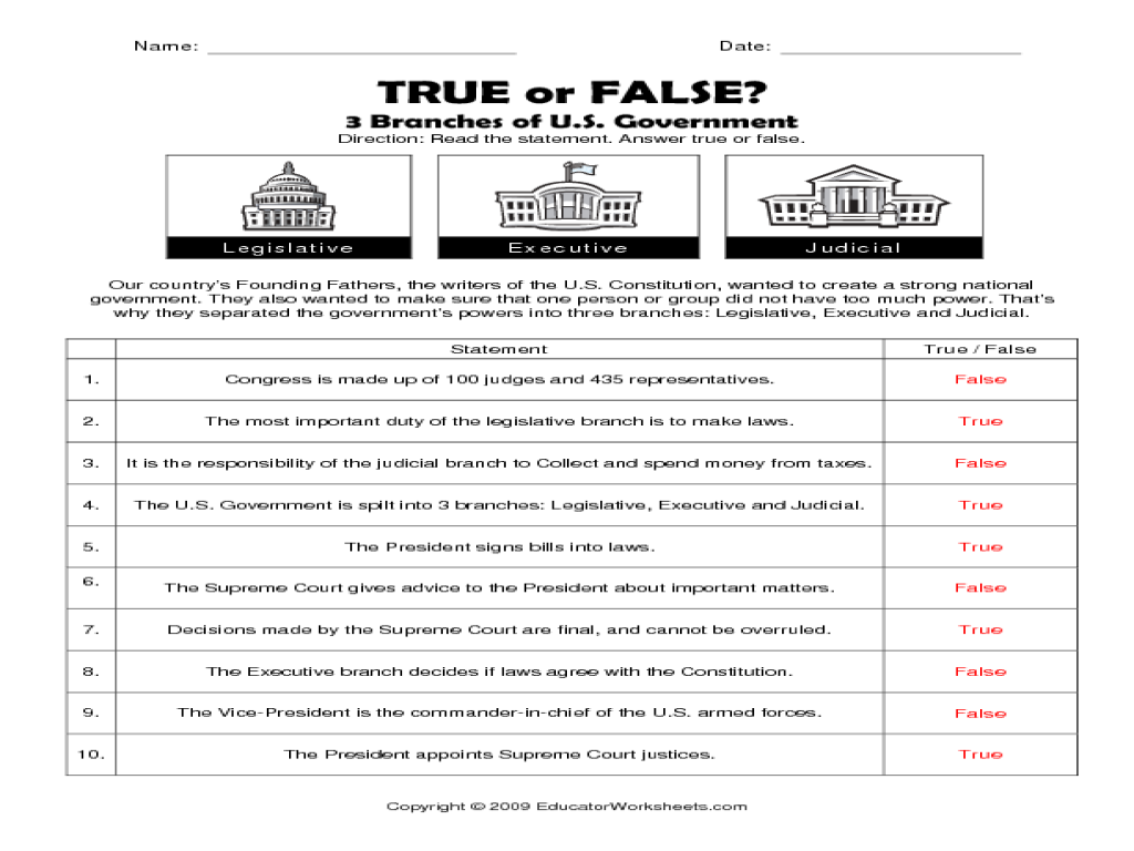 Printables Branches Of Government Worksheet 3 branches of the u s government true or false 5th 8th grade worksheet lesson planet