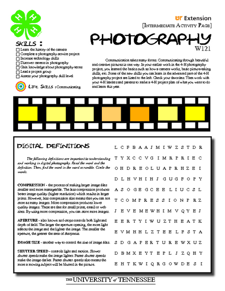Printables Photography Worksheets 4 h photography intermediate activity pages 7th 10th grade worksheet lesson planet