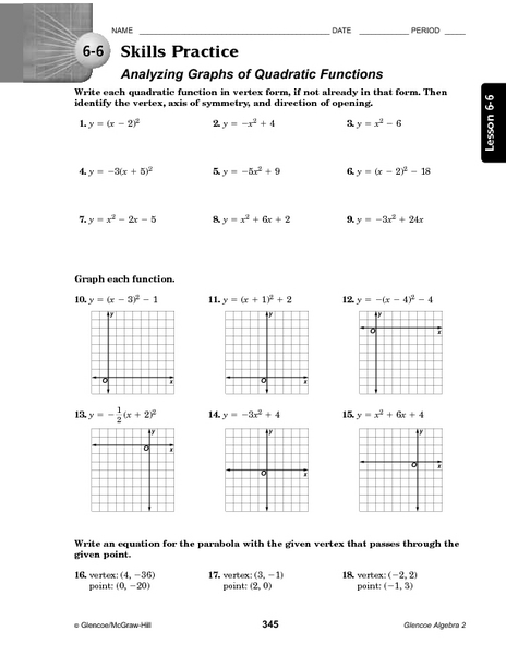 Worksheets Graphing Quadratic Functions In Vertex Form Worksheet 6 skills practice analyzing graphs of quadratic functions 10th 12th grade worksheet lesson planet