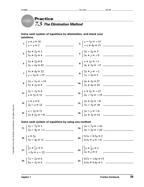 7.3 The Elimination Method 8th - 11th Grade Worksheet | Lesson Planet