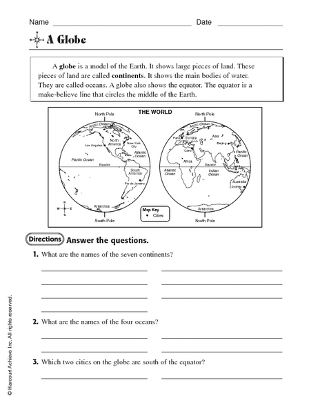 Map and Globe Skills Intermediate Lesson-Power Point and Study ...